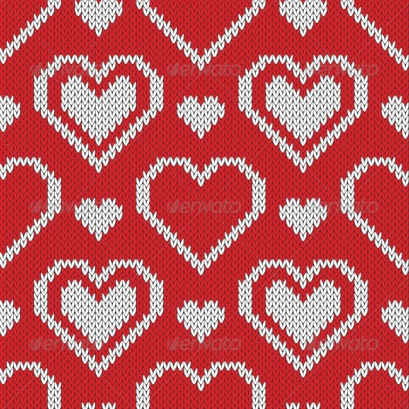 Seamless Knitted Sweater Pattern with Hearts - Patterns Decorative