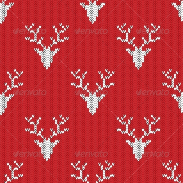 Red Knitted Sweater with Deer Seamless Pattern - Patterns Decorative