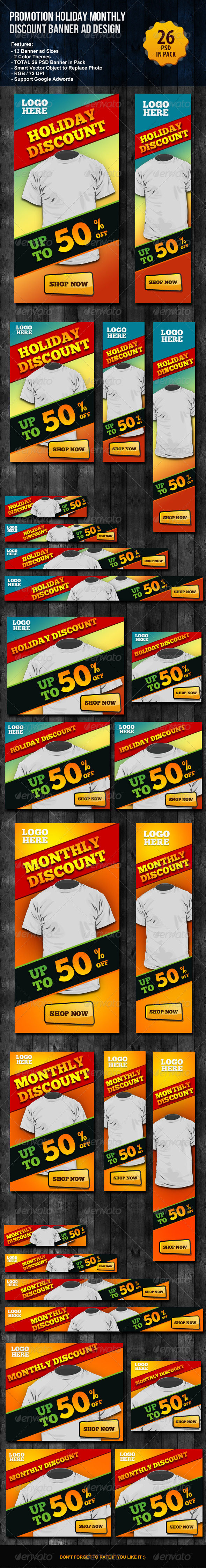 Promotion Holiday Monthly Discount Banner ad - Banners & Ads Web Elements