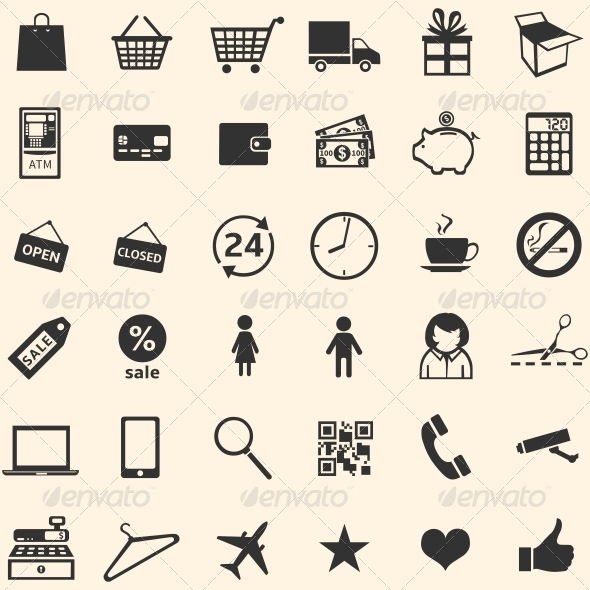 Vector Set of 36 Shopping Icons  - Miscellaneous Icons