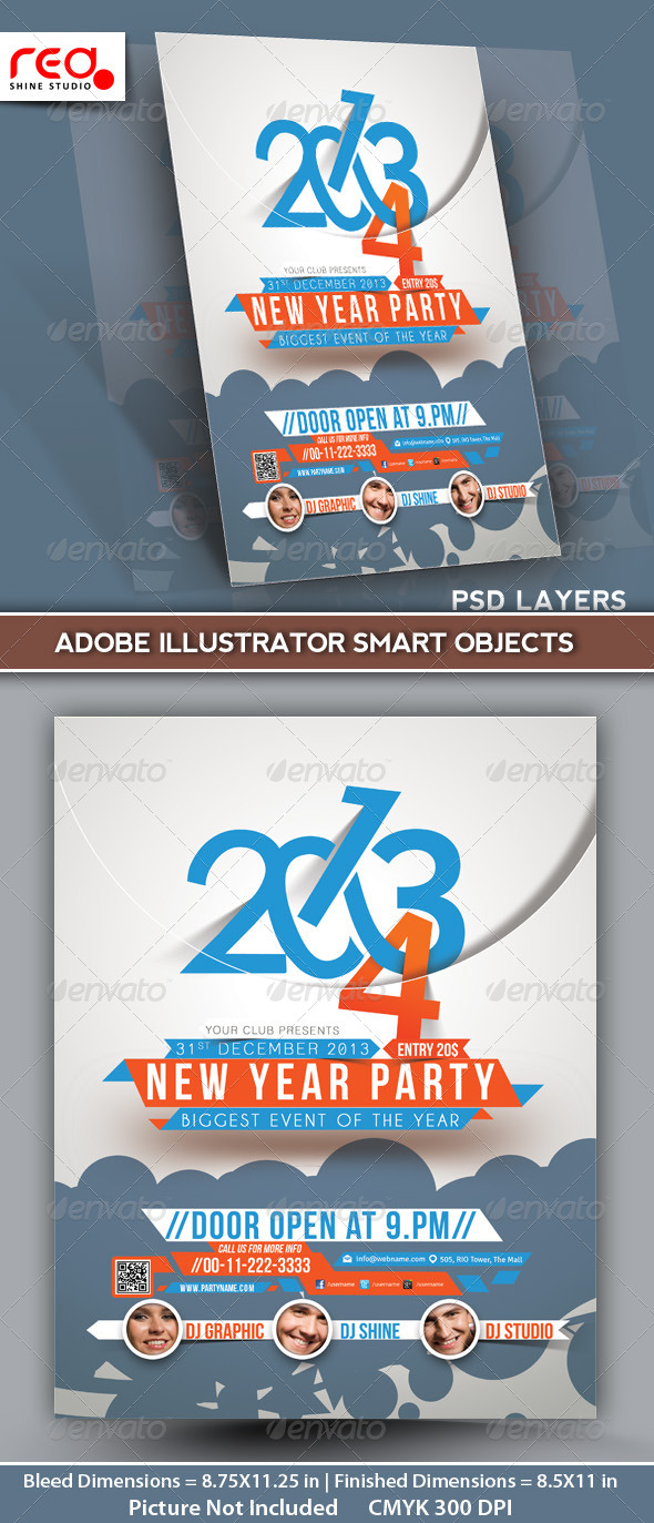 New Year's Party Flyer & Poster Template -2 - Clubs & Parties Events