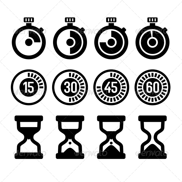 Timers Icons Set - Media Icons