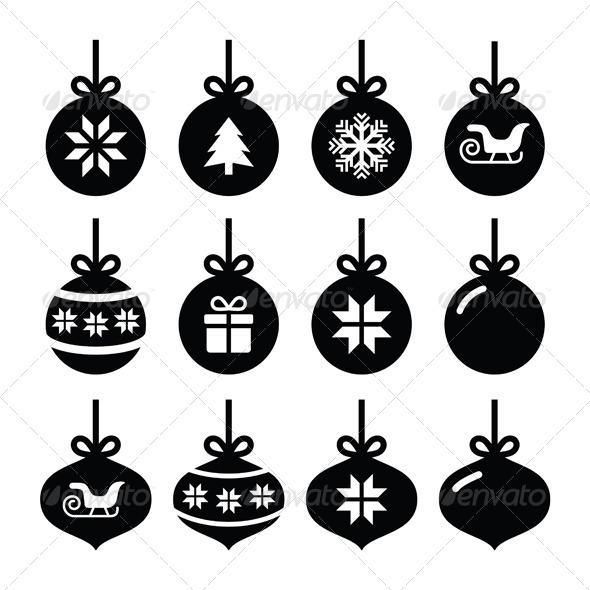 Christmas Ball, Christmas Bauble Vector Icons Set - Christmas Seasons/Holidays