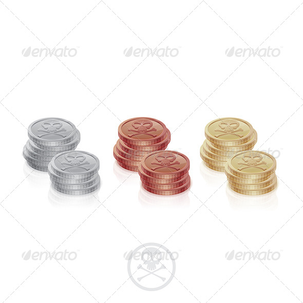 Pirate Coins Two Columns - Objects Vectors