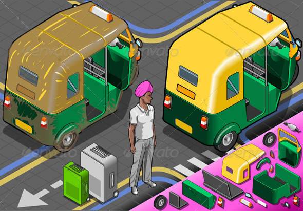 Isometric Indian Rickshaw in Rear View - Objects Vectors