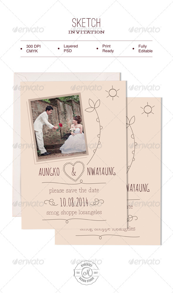 Sketch Invitation - Weddings Cards & Invites