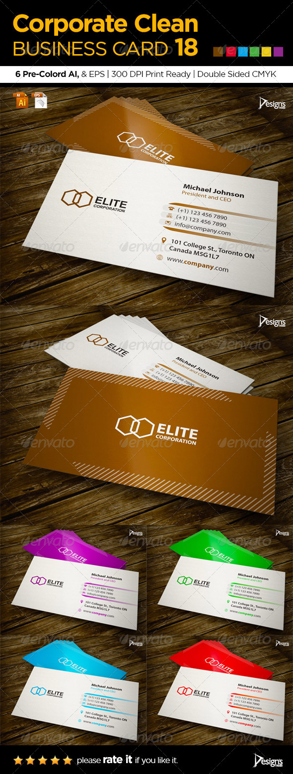Corporate Clean Business Card 18 - Business Cards Print Templates