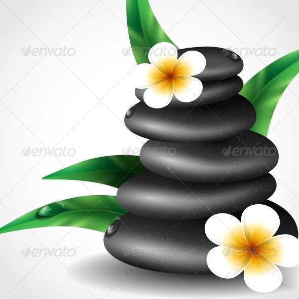Spa Stones with Frangipani Flower. - Landscapes Nature