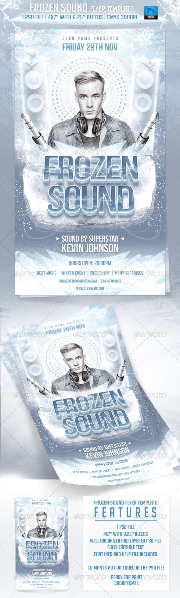 Frozen Sound Flyer Template - Clubs & Parties Events