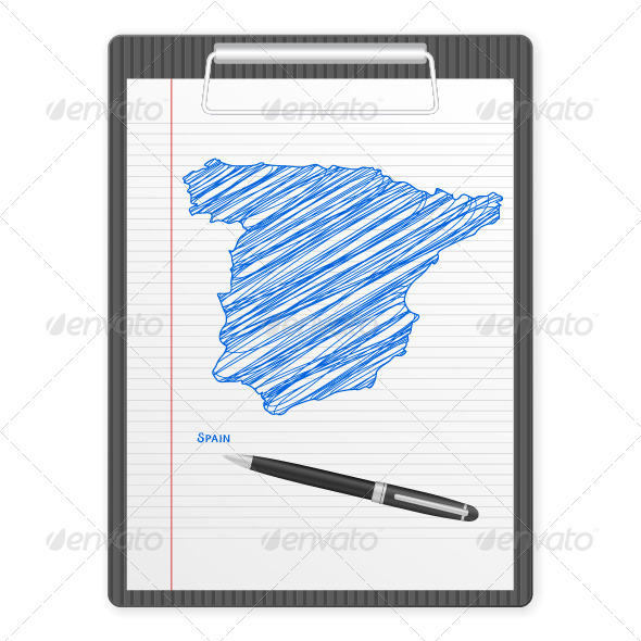 Clipboard Spain Map - Objects Vectors
