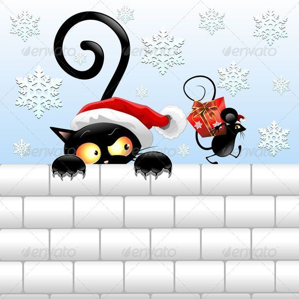 Funny Christmas Black Cat and Mouse - Christmas Seasons/Holidays