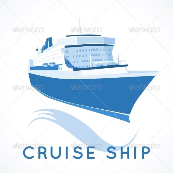 Cruise Ship Label - Travel Conceptual