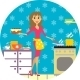 Woman Cooks in Kitchen - GraphicRiver Item for Sale