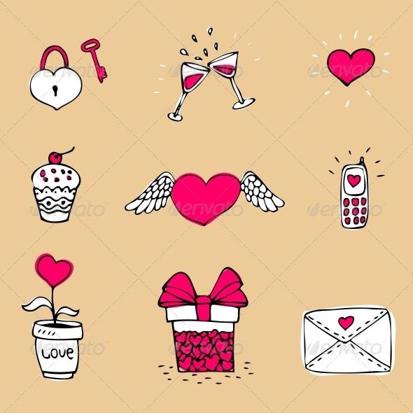 Love Icons Set - Decorative Symbols Decorative