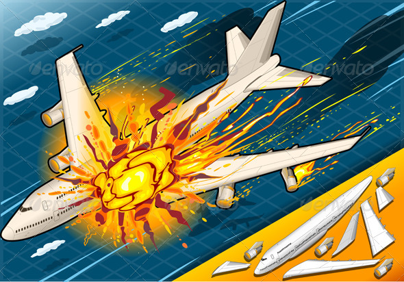 Isometric Explosion of Airplane Falling Down - Conceptual Vectors