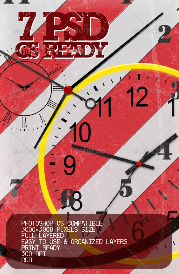 7 full layered PSD clocks - Miscellaneous Graphics