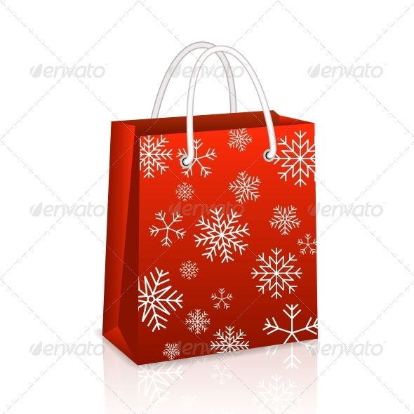 Christmas Red Shopping Bag - Retail Commercial / Shopping
