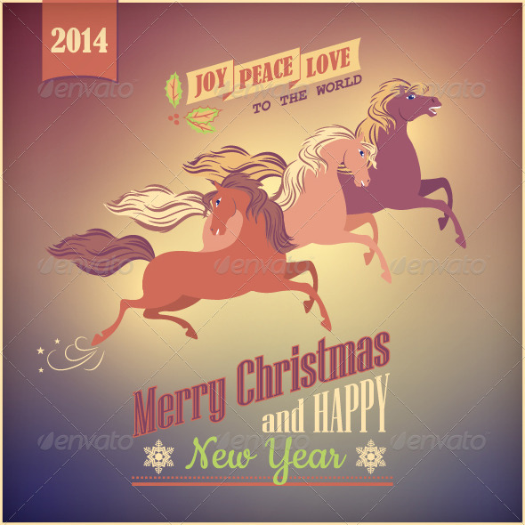 Vintage Galloping Horse Vector Christmas 2014 Card - Christmas Seasons/Holidays