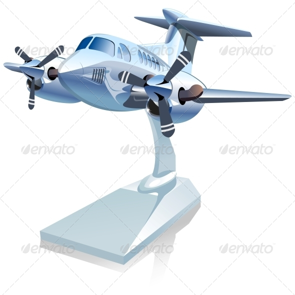 Vector Cartoon Airplane - Man-made Objects Objects
