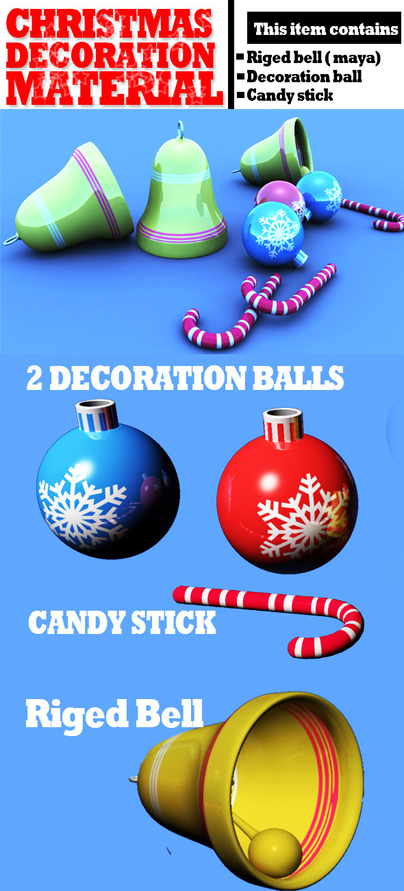 Christmas Decoration Materials Textured - 3DOcean Item for Sale