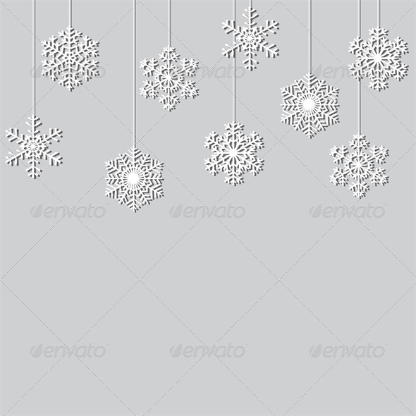 Hanging Paper Snowflake Christmas Background - Christmas Seasons/Holidays