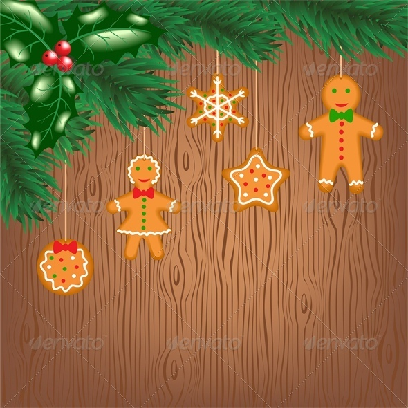 Gingerbread Cookies Hanging on Christmas Tree - Christmas Seasons/Holidays