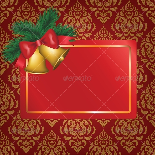 Christmas Card with Gold Bells and Tree Branch - Christmas Seasons/Holidays
