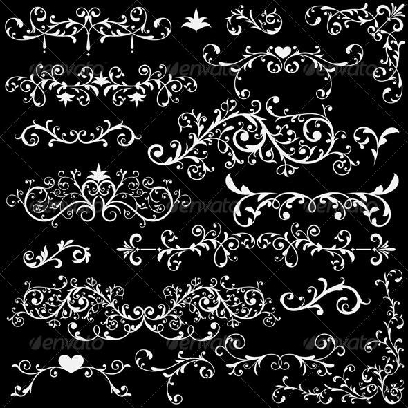 Vector Vintage Design Elements - Flourishes / Swirls Decorative