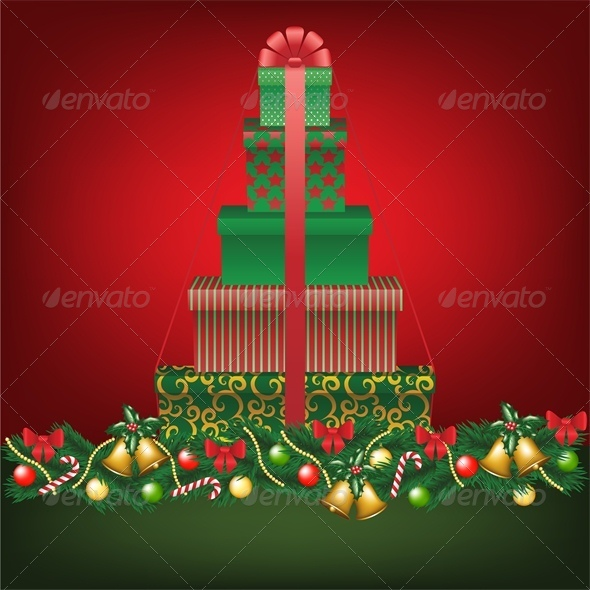 Christmas Card with Stack of Tree Shaped Gifts - Christmas Seasons/Holidays