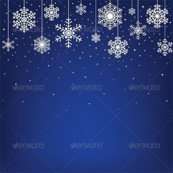 Christmas Card with Hanging Snowflakes - Christmas Seasons/Holidays
