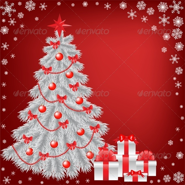 White Christmas Tree with Gift - Christmas Seasons/Holidays