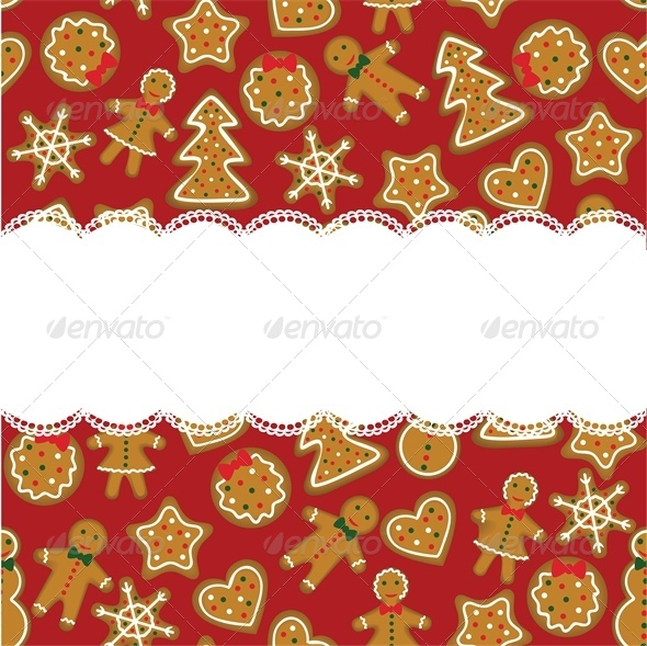 Christmast Card with Red Background and Cookies - Christmas Seasons/Holidays