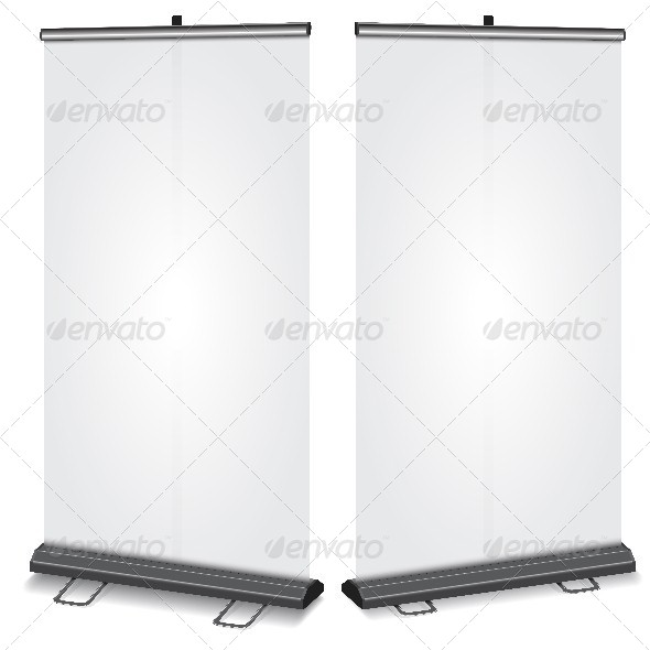 Blank Roll-Up Banner - Backgrounds Business