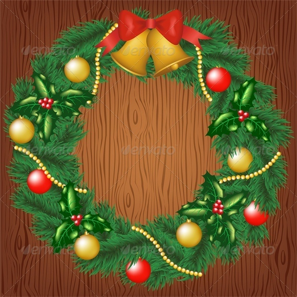 Christmas Wreath on Wood Background - Christmas Seasons/Holidays