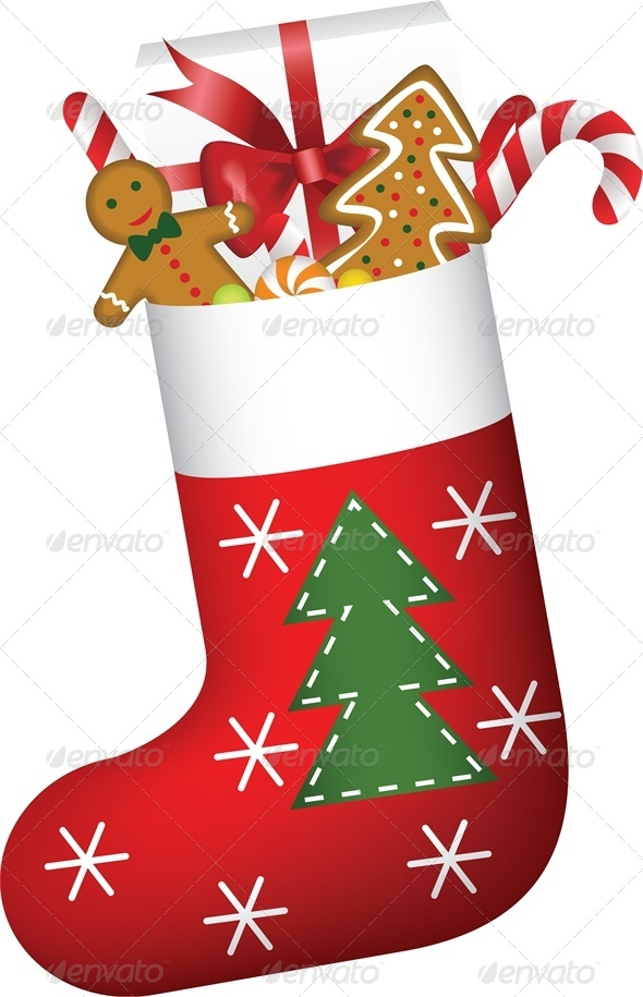 Christmas Stocking Full of Gifts and Cookies - Christmas Seasons/Holidays