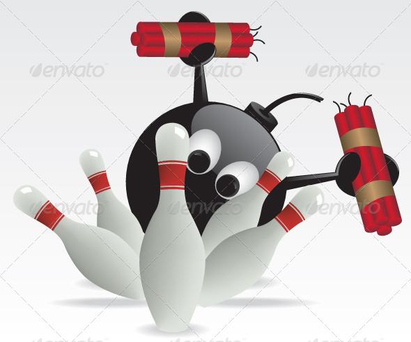 Bowling Pins and Bomb Illustration - Characters Vectors