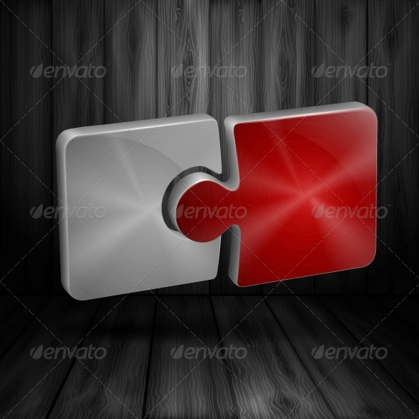 Puzzle on Wooden Background - Backgrounds Decorative