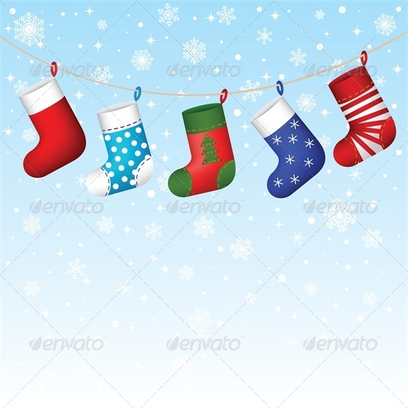 Christmas Stocking Hanging with Snowflakes - Christmas Seasons/Holidays