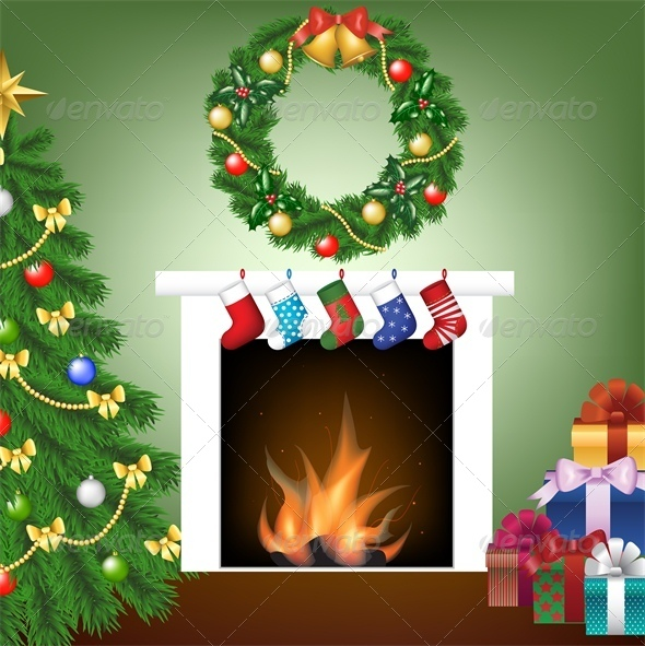 Christmas Card with Tree, Fire Place and Stockings - Christmas Seasons/Holidays