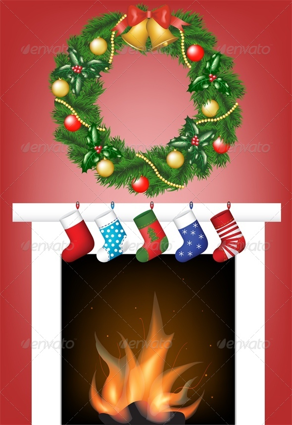Christmas Card with Fire Place, Stockings and Wreath - Christmas Seasons/Holidays