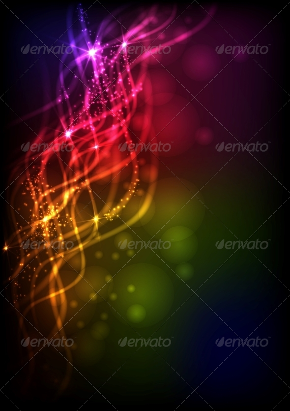 Abstract Neon Waves. - Backgrounds Decorative