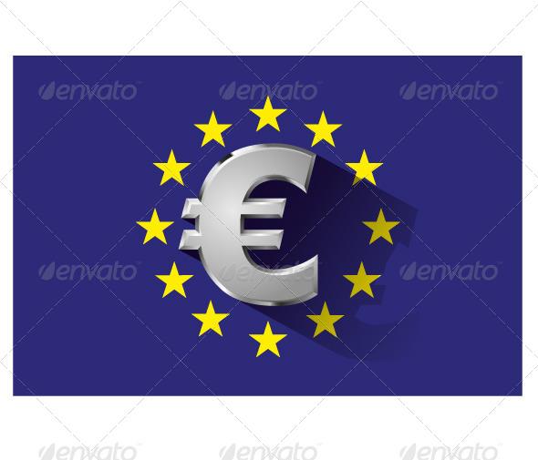 Silver Euro Symbol on Euro Flag - Business Conceptual