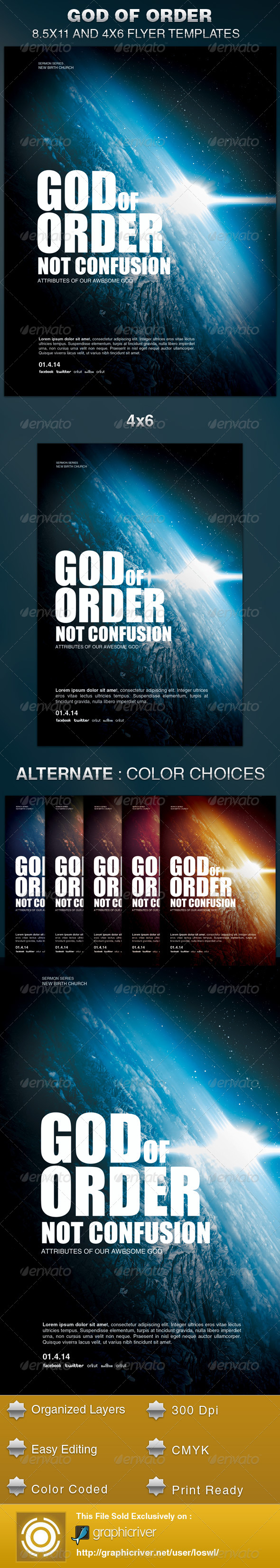 God of Order Church Flyer Template - Church Flyers