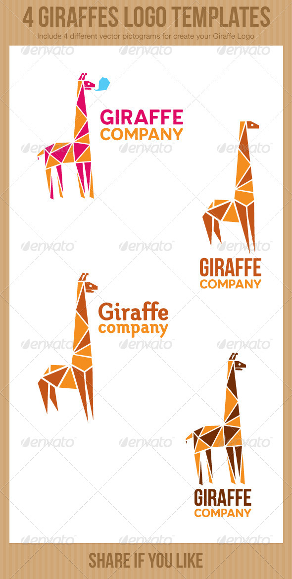 4 Giraffe Logos - Animals Logo Templates
