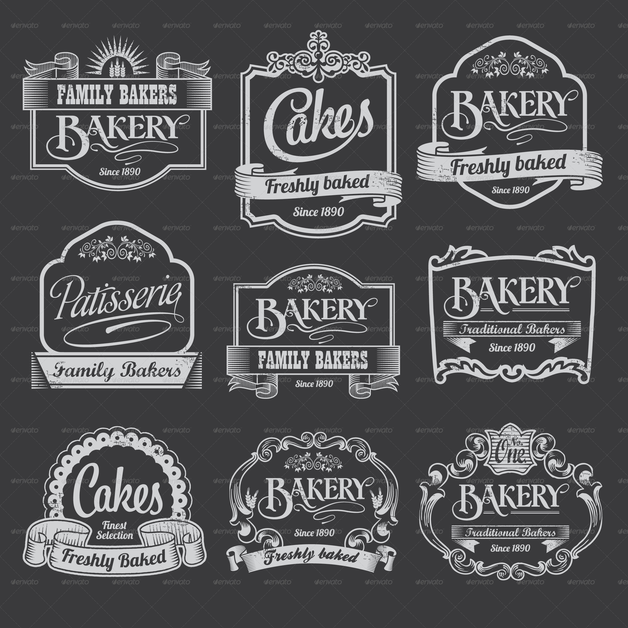 bakery labels black 2 graphic riverjpg