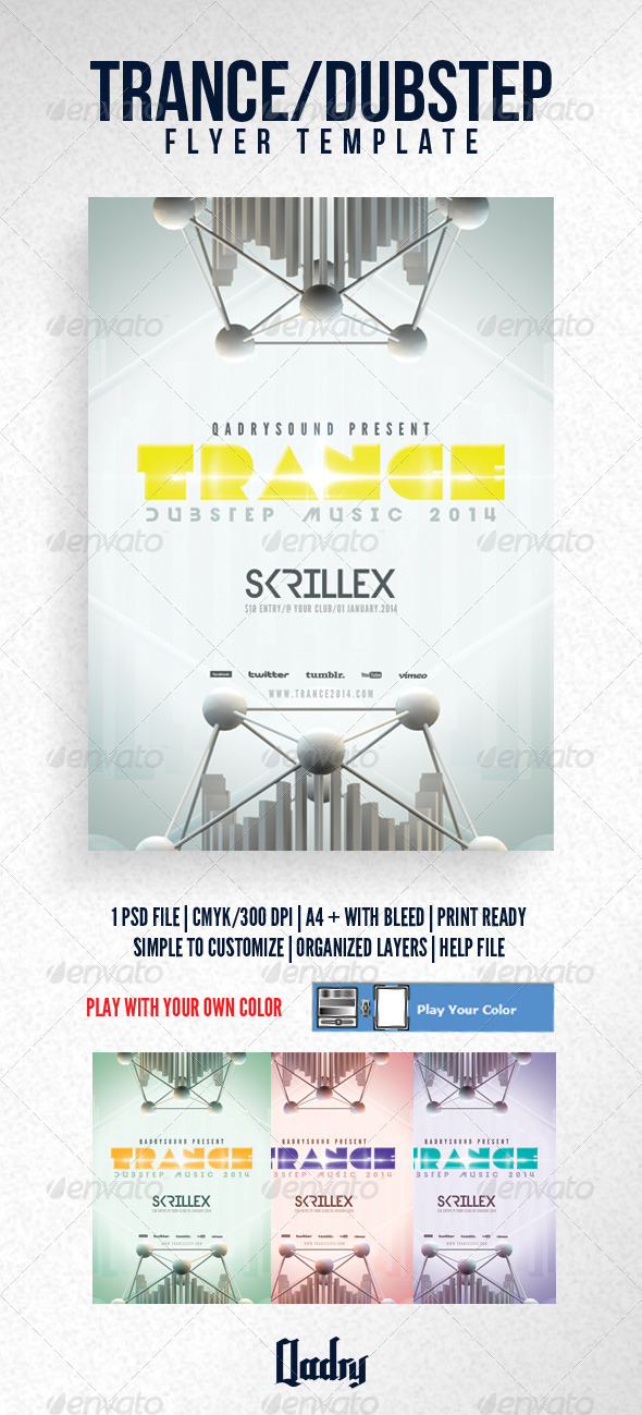Trance / Dubstep Flyer Template - Clubs & Parties Events