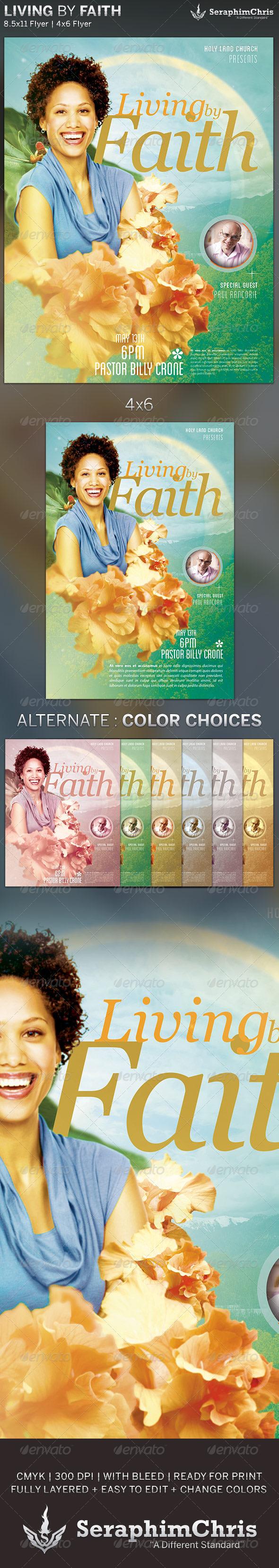 Living by Faith: Church Flyer Template - Church Flyers