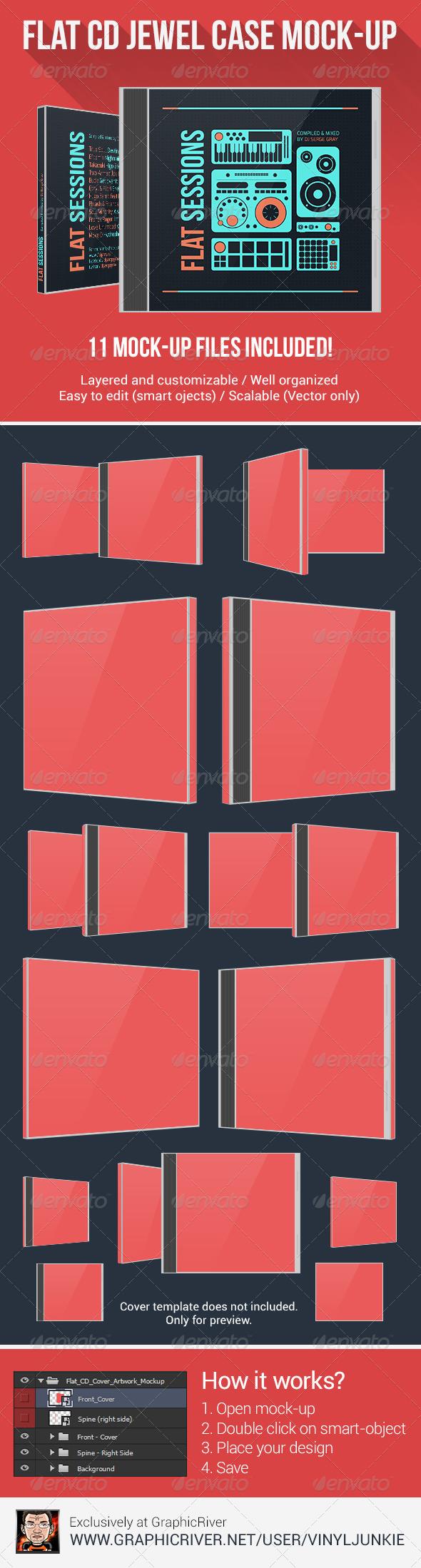 Flat CD Jewel Case Mock-Up - Discs Packaging