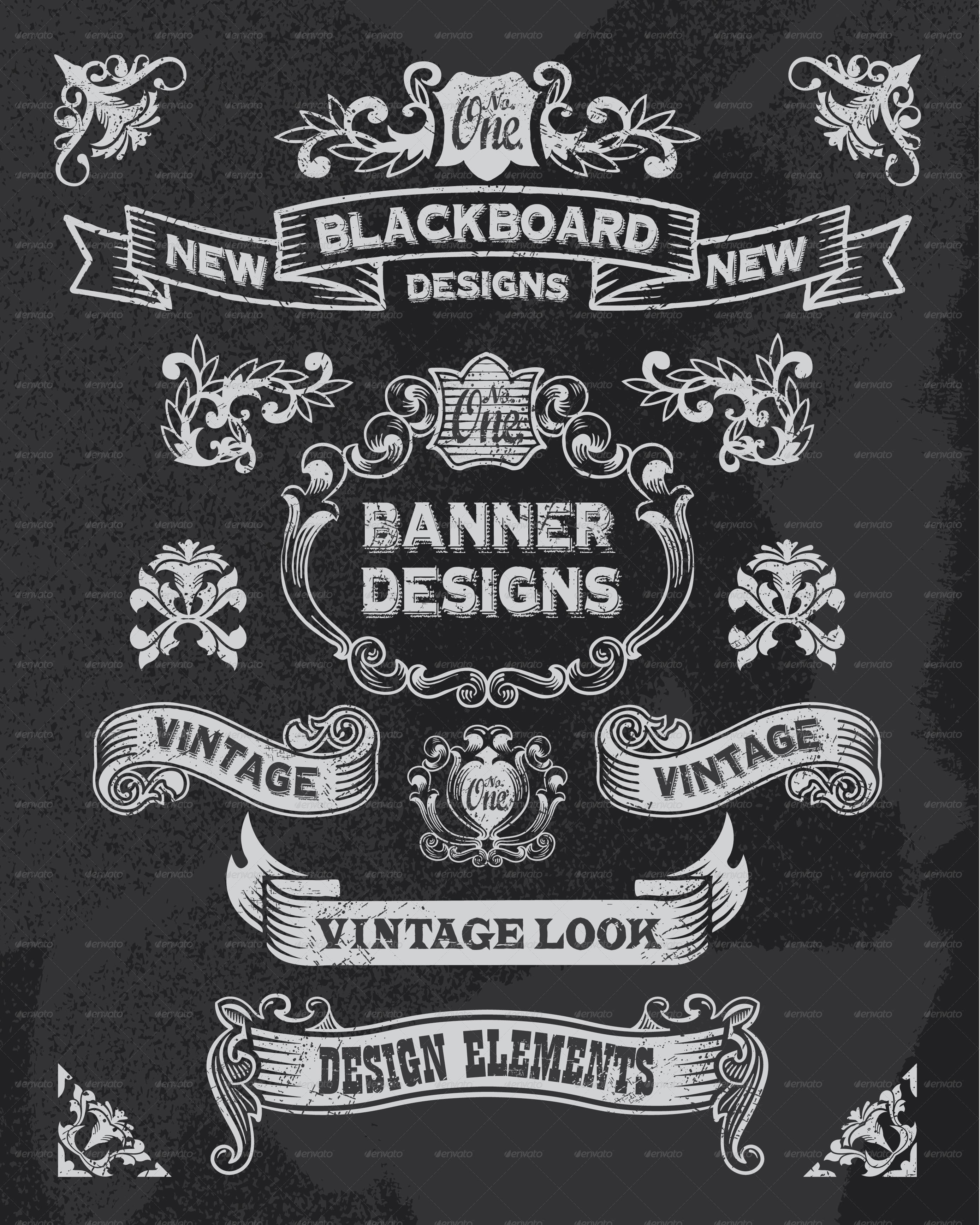 retro banner and ribbon blackboard design set by rtguest