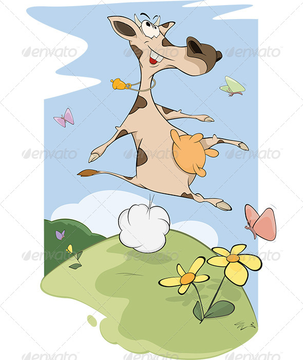 Cheerful Cow on a Meadow Cartoon - Animals Characters